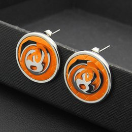 Wholesale Crystal C - Fashion double C earring jewellery wholesale black and white orange rounded plate ear nail 18K Rose Gold Earrings