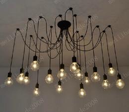 Wholesale Retro Kitchen Lights - 16-Lights Retro Classic DIY RH Designer Loft American Edison Vintage Ceiling Chandelier Lamp E27 Pendant Spider Lamps Holder MYY9977A