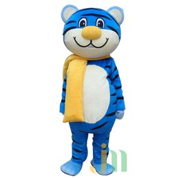 Wholesale Tiger Costumes Free Shipping - Professional Style blue Tiger Mascot Costume Adult Size -- Free Shipping