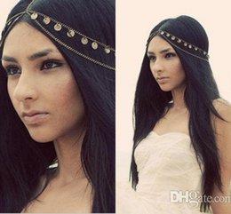 Wholesale Headband Chains - 2016 New Cheap Fashion Bohemian Women Metal Head Chain Headbands Hair Jewelry Forehead Dance Headband Piece Wedding Accessories tiara Crown