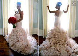 Discount sweetheart tier mermaid wedding dress - Romantic Mermaid Ruffles Light Pink Wedding Dresses Sweetehart Ruched Crystal Sash Open Back Sexy Bridal Dresses Chapel Train Wedding Gowns