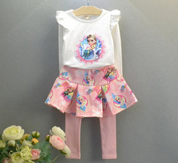Wholesale Childrens Fall Outfits - baby frozen clothing sets girls boutique outfits fall autumn clothes childrens long sleeve tshirt + tutu skirt tight pants toddler cute suit