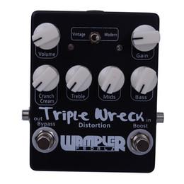 Wholesale High Gain Distortion - Black Silver Triple Wreck high gain distortion pedal Hand Built Guitar Effect Pedals MU0376