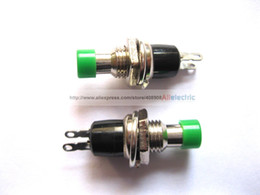 Wholesale Spst Momentary Off - 40 Pcs SPST Mini Push Momentary Switch Green Cap 250V 3A 125V 6A Nomal Off