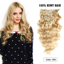 Wholesale Human Hair Extensions Clip Wave - Grade 8A--Human clip in hair extensions, 18inch 150g clip-in human hair extensions, body wave & color 4#