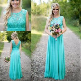 Wholesale Long Turquoise Dresses For Bridesmaids - 2016 New Arrival Turquoise Bridesmaid Dresses Scoop Neckline Chiffon Floor Length Lace V Backless Long Bridesmaid Dresses for Wedding