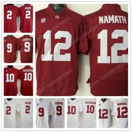 Wholesale Derrick Green - Mens Alabama Crimson Tide #12 Joe Namath 10 AJ McCarron 2 Derrick Henry 9 Amari Cooper Red White Stitched NCAA College Football Jerseys