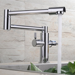 Wholesale Rolling Shaft - 2015 Wholesale Solid Brass Deck Mounted Extended Hot and Cold Pot Filler Swing Spout Foldable Kitchen Faucet Sink Mixer Polished Chrome