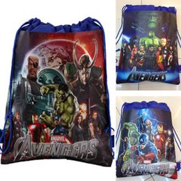 Wholesale Cheap Children Handbag - 60pcs Avengers 2 Age of Ultron 2015 Children Drawstring Bags Cartoon The Avengers Superhero Backpack Kids School Bag Handbag cheap 201505HX