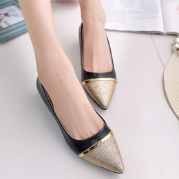 Wholesale Ladies Patchwork Shoes - New 2016 Fashion Women Shoes Pointed Toe Faux leather Patchwork Loafers Ladies Flat Shoes Slip-On Single Shoes Size 36-39 TY0210 smileseller