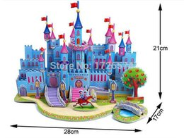 Wholesale Education Toy House - Wholesale-12pcs set Free Shipping 3D Puzzle Toys Jigsaw Toys House Hut Home Villa Model Building Kits Early Education Toys Gift Wholesales
