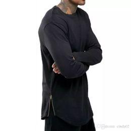 Wholesale Long Shirt Trend Men - New Trends Men T shirts Super Longline Long Sleeve T-Shirt Hip Hop Arc hem With Curve Hem Side Zip Tops tee