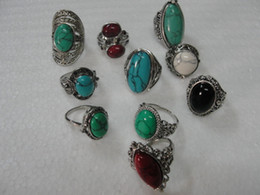 Wholesale Gemstones Settings - Vintage Turquoise Antique Silver Rings mix Size Turquoise Mix 10 Styles 10pcs lot Vintage Gemstone Rings Turquoise Rings