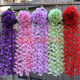 Wholesale Wholesale Wedding Supplies Bulk - 2015 Hot Sale Elegant Bulk Roses Silk Flowers Bush Wisteria Garland Hanging Ornament For Garden Home Wedding Decoration Supplies