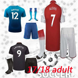 Wholesale Alexis Sanchez - 17 18 Lacazette soccer jersey men kit + socks home AWAY 2017 2018 ALEXIS THIRD sanchez GIROUD OZIL Walcott third adult sets football shirts