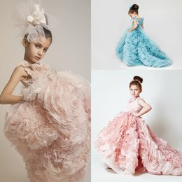 Wholesale High Glitz Dresses - Vintage 2017 cheap High Low Flower Girls' Dresses For Weddings Ruffles Glitz Sweep Train Pageant Ball Gowns Girls Pageant Dresses
