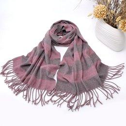 Wholesale Cashmere Scarves Match - Fashion Popular Star Scarves For Women All Match Stripes Casmere Pattern Scarf Mutli Use Long Size 849