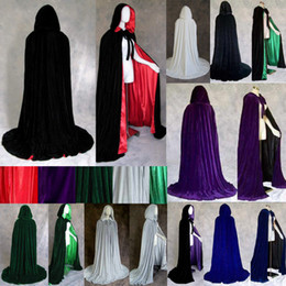 Wholesale Long Robe Xxl - New Arrival Velvet Hooded Cloaks Winter Wedding Capes Cheap Wicca Robe Wram Christmas Floor Length Long Bridal Wraps S-XXL