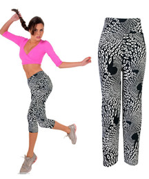 Wholesale Cheap Gym Pants - Wholesale-2015 High Quality Cheap Capri Leggings High Waisted Floral Printing Pants Lady's Fitness Workout Casual Pants Gym Wear 21