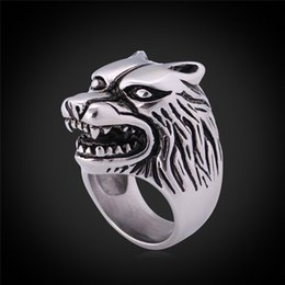 Wholesale Wolf Band Ring - Cool Wolf Punk Rap Hip Hop Band Ring 316L Stainless Steel With GIFT BOX Never Fade Men Jewelry GR383