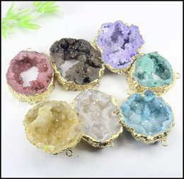 Wholesale Round Connectors - 7pcs Gold Tone Nature Druzy Geode Connector,Agate Slice gem stone Connector, Drusy Crystal Quartz Pendant Jewelry findings