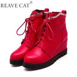 Wholesale Black Wedge Flower - New 2015 Autumn Winter Ladies shoes Woman ankle boots Wedges Printing Pointed toe Lace up Flower Fashion Cool Warm Black Red Hot