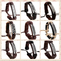 Wholesale Leather Bracelets Letters - 100% genuine leather bracelet men woman silence believe forgiven Are you Ready faith hope Worid peace rope adjustable bracelet 10pcs lot