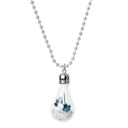"Wholesale Horn Tones - Wholesale-Glass Bottle Necklace Ball Chain Silver Tone Blue Dried Flower Pendant Clear Rhinestone 59.2cm(23 2 8"")long,1 Piece 2015 new"