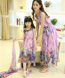 Wholesale Maxi Sales - Mother and Daughter Clothes 2015 New Summer Dresses Print Floral Bohemain Maxi Dress Sleeveless Chiffon Family Clothes Hot Sale Iv-Iv-55