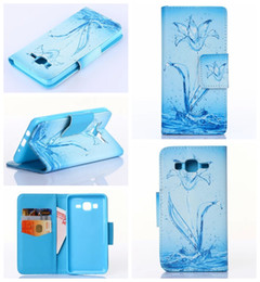 Wholesale Galaxy Ace Leather - For Galaxy O5 G550 J5 J3 J2 J1 ACE J110 Trend 2 Lite G318 Purse Flower Butterfly Eiffel Tower Wallet Leather Be Free Pouch Stylish Soft Case