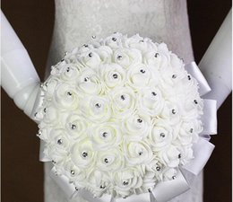 Wholesale Crystal Bead Wedding Bouquets - 2016 New Crystal White Bridal Wedding Bouquets Beads Bridal Holding Flowers Hand Made Artificial Flowers Rose Bride Bridesmaid 19*19cm