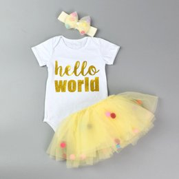 Wholesale Short Skirts Blue Colour - Baby Girls Sets 3-18Mons Newborn Letter Print Rompers + Skirt + Headbands 3pcs Suits 2017 Infant Princess Jumpsuit Outfits Children Boutique