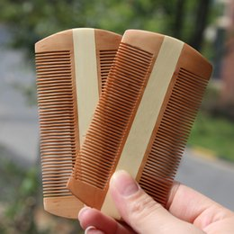 Wholesale Lice Comb Wholesalers - Two Side Peach Wood Comb Romove Lice Healthy Massage Hair comb Brush Care Styling Tools Natural Fruitwood Comb