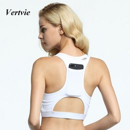 8b0a6ec9657e0 Wholesale- vertvie Women Sports Bra Sexy Back Tank Tops With Pocket For  Phone Fitness Outdoor Running Gym Clothing Push Up Yoga Bras New