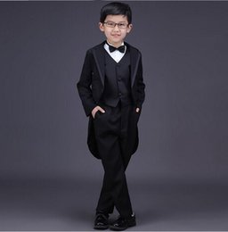 Wholesale Picture Blocks - 2018 new children's boy pioneer suit for 3 sets of boys wedding dress single-breasted official color block boy with tail bow set