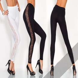 Wholesale Lace Slimming Pants For Women - Women's lace stitching thin breathable leggings slim fashion hip stretch pants elastic pantyhose leggings for women