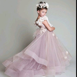 Wholesale Cheap Handmade Dresses - 2018 Handmade Flowers Cheap Flower Girls Pageant Dresses Ball Gowns Beaded Sequins Tiered Kid dress Stylish Dress Formal Occasion