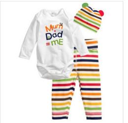 Wholesale Owl Baby Pants - Wholesale-New 2015 Newborn Baby Clothing Sets Rompers Bodysuits Pant Hat 3 Piece Set Cartoon Sets Mom Dad Love Me Owl Elephant Lot