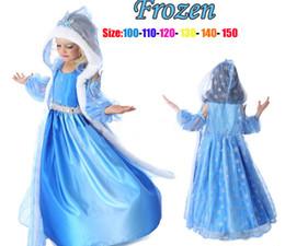 Wholesale Pageant Dresses Wholesalers - 2014 Frozen Princess Dresses Blue Elsa Dresses With White Lace Winter cape Girls Pageant Dresses Christmas Frozen Dresses Ready Stock Size