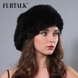 Wholesale Red Rex - Wholesale-2015 New Russian Women Winter Knit Fur Beret Natural Knitted Rex Rabbit Fur Hats