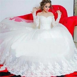 Wholesale Sexy Glamourous Wedding Dresses - Glamourous Plus Size Wedding Dresses 2016 Off The Shoulder Appliques Long Sleeves Ball Gown Bridal Gowns Custom Made