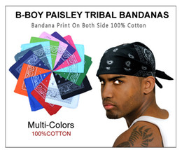 Wholesale Hip Scarf Orange - Cotton La Gangster B-BOY Bandanas Classical Tribal paisley Street HIP HOP Dance Hair Head bands Scarf Multi-Colors Free Shiping