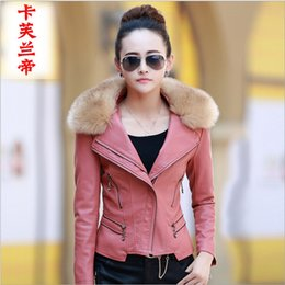 Wholesale leather motorcycle jacket small - Wholesale-Women's leather jacket new autumn and winter short small motorcycle leather collar Nagymaros coat