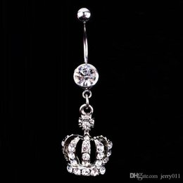 Wholesale Christmas Bell Charms - Hot Sale Crown Charm Rhinestone Body Piercing Jewelry Belly Button Ring Navel Jewelry Drop Shipping Body-0164