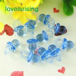 Encantos de luz de acrílico online-Número de seguimiento-500pcs / pack 22mm * 11mm Clear Light Blue Mini acrílico Baby Chupete Baby Shower Favors ~ Encantos lindos ~ Decoraciones del partido