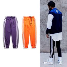 Wholesale Hip Hop Track Pants - New Fashion Track Pants Men Striped Jogger Pants Zip Pocket Sweatpants Bieber Hip Hop Lounge Pant Black White Red Orange PXG0916