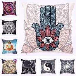 Wholesale Zen Home Decor - Multicolor 8 Designs Cushion Covers Zen Buddha Statues Totem Cotton Pillowcase Home Decor Manufacturers Cotton and Linen Pillowcase