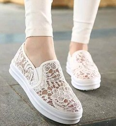 Wholesale Net Wedge - Brand Summer Women Lace flat shoes Casual Shoes bottom of the thick Platform crochet shoes Net yarn sandals whiter#610