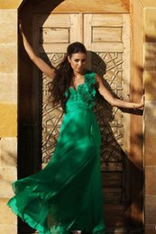 Wholesale Green Chiffon One Shoulder Dress - One Shoulder Flowers Hand Made Green Prom Dresses A line Chiffon Draped Evening dress Women Formal Wear Zipper Vestido De Fiesta Pagenat WWL
