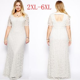Wholesale Clothing Large Sizes - Womens Plus Size Maxi Dress with Sleeves Female Vestidos Long White Lace Dress 2XL 3XL 4XL 5XL 6XL Fat Women Large Big Size Clothing